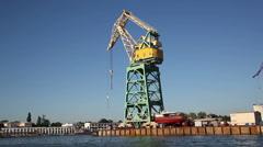 Lifting crane at sea port Stock Footage