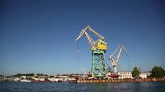 Lifting crane at sea port 1 Stock Footage