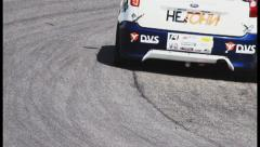 Rubber & traces of sport racing cars on track tarmac, click for HD - stock footage