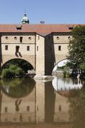 Germany, Bavaria, Amberg, View of Stadtbrille with Vils River - stock photo