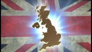 Map of United Kingdom with animated Union Jack on background, click for HD Stock Footage