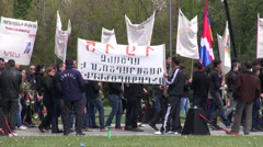 Genocide Remembrance Day, people hold banners Stock Footage