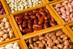 Boxes of beans Stock Photos