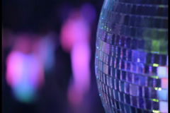 Stock Video Footage of Disco ball strobe lights at night club party, people dancing, click for HD