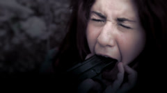 Stock Video Footage of violence against women: gun, rape, crime, fear, scare, panic, dread