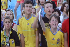 Stock Video Footage of Young football fans shout asking for autograph of soccer players, click for HD