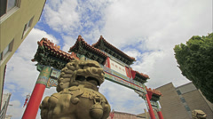 Chinatown Gate with Lucky Fu Dog Lion in Portland Oregon Time Lapse Stock Footage