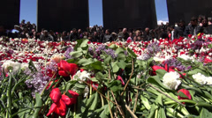 Flowers at Genocide Memorial site, Yerevan, Armenia Stock Footage