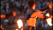 Stock Video Footage of Men and woman dance with burning chain fire pois, click for HD