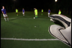 Football (soccer) goalkeeper POV of penalty kick. Save., click for HD Stock Footage