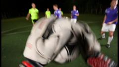 Soccer goalkeeper pov saving team from header shot on goal., click for HD Stock Footage