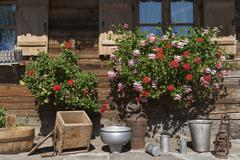 Germany, Bavaria, Geranium and househols articles on terrace of farmhouse Stock Photos