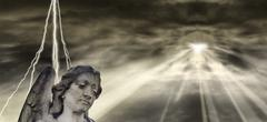 angel and dramatic sky - stock illustration