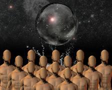 Crowd under sphere Stock Illustration