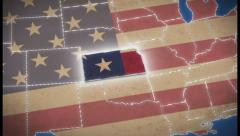Stock Video Footage of USA map, Kansas pull out, all states available, click for HD