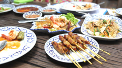 Traditional Thai food Stock Footage
