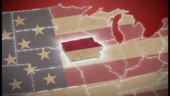 USA map, Iowa pull out, all states available. Red, click for HD Stock Footage