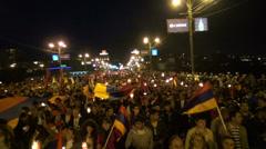 March towards memorial, Yerevan Stock Footage