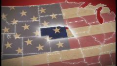 USA map, Nebraska pull out, all states available. Red, click for HD - stock footage