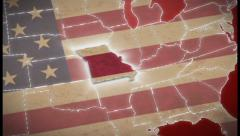 USA map, Missouri pull out, all states available. Red, click for HD - stock footage