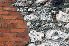 Brick and Stone Wall - stock photo