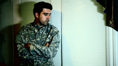 PTSD dramatic distressed soldier drama Stock Footage