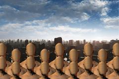 faceless masses before ruins - stock illustration