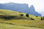 Stock Photo of Italy, View of Seiser Alm, Schlern and Santner Spitze in background at South