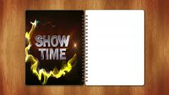 06 showtime red half page white Stock Footage