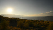 Stock Video Footage of Mono Lake 41 Timelapse Navy Beach Sunset Tufas Clouds