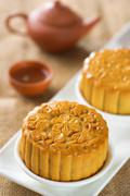 Mooncakes with teaset Stock Photos