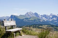 Italy, Bench on hiking path at Seiser Alm in South Tyrol Stock Photos