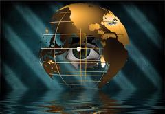 eye peers through earth - stock illustration