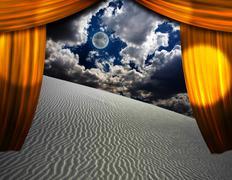 Aavikon hiekka näkyy läpi aukon verhot Piirros