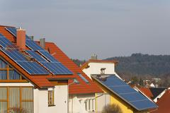 Germany, Baden Wurttemberg, Lorch,  Dwelling with solar panels - stock photo