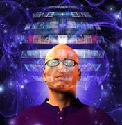 man views video sphere surrounding his head - stock illustration