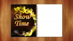 07 showtime red half page white Stock Footage