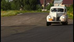 Two vintage cars Ford Coupe, Chevrolet Fangio on the drivevway, click for HD Stock Footage
