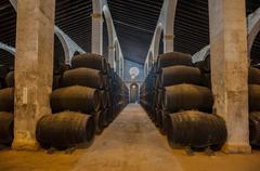 Sherry barrels in jerez bodega, spain Stock Photos