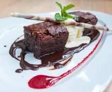 Fancy dessert, chocolate brownie and ice cream Stock Photos