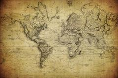 vintage map of the world 1814.. - stock photo