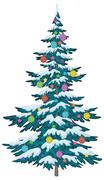 Christmas tree with ornaments Stock Illustration