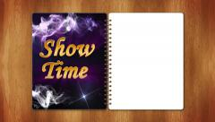 08 showtime blue half page white Stock Footage