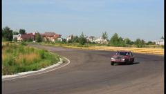 Daytime wide landscape view, retro car Datsun P510 on road, click for HD Stock Footage