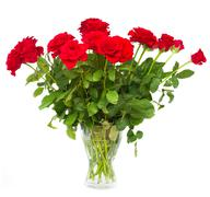 Stock Photo of bouquet of scarlet roses in vase