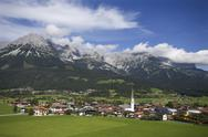 Stock Photo of Austria,Tyrol, Ellmau am Wilden Kaiser, View of town