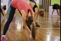 Body stretching in gym by group of people. Fitness training, click for HD Stock Footage