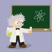 Funny cartoon scientist in various poses for use in advertising, presentations, Stock Illustration