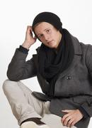 Teenage boy in warm clothing, portrait - stock photo