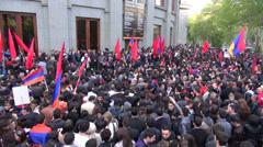 Speech, crowd, Genocide Memorial Day, Yerevan, Armenia Stock Footage